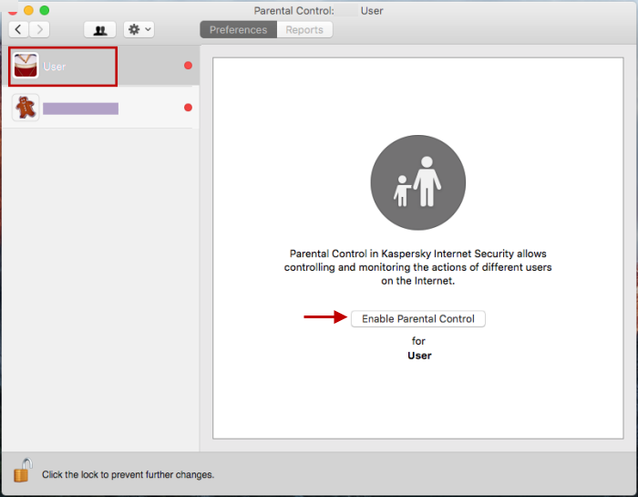 Select the child's user account and click Enable Parental Control.