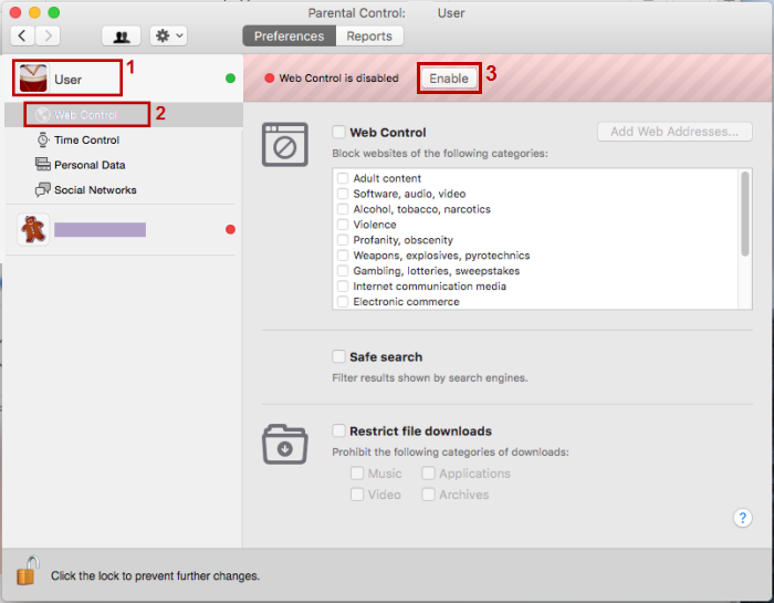Select Web control for the needed user account and click Enable.