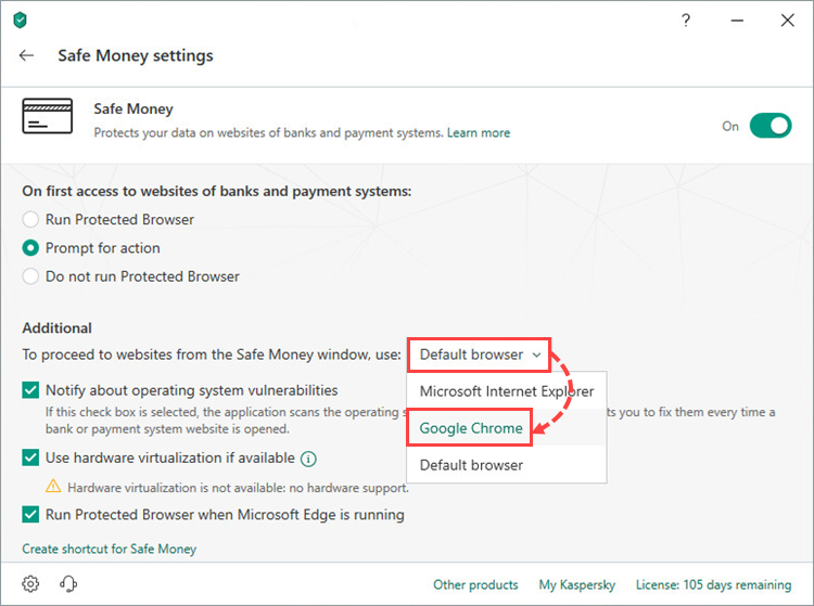 Selecting the browser to open Safe Money in Kaspersky Security Cloud 19