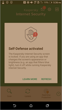 Kaspersky Internet Security for Android interface while a blue light filtering app is running