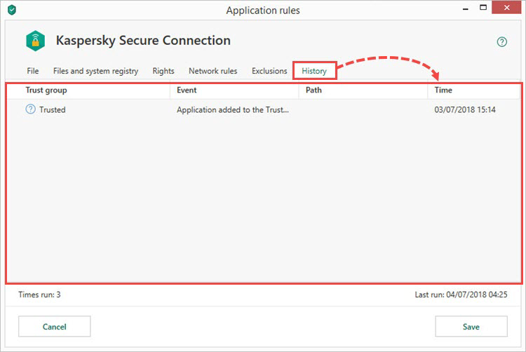 Viewing Kaspersky Security Cloud 19 application history