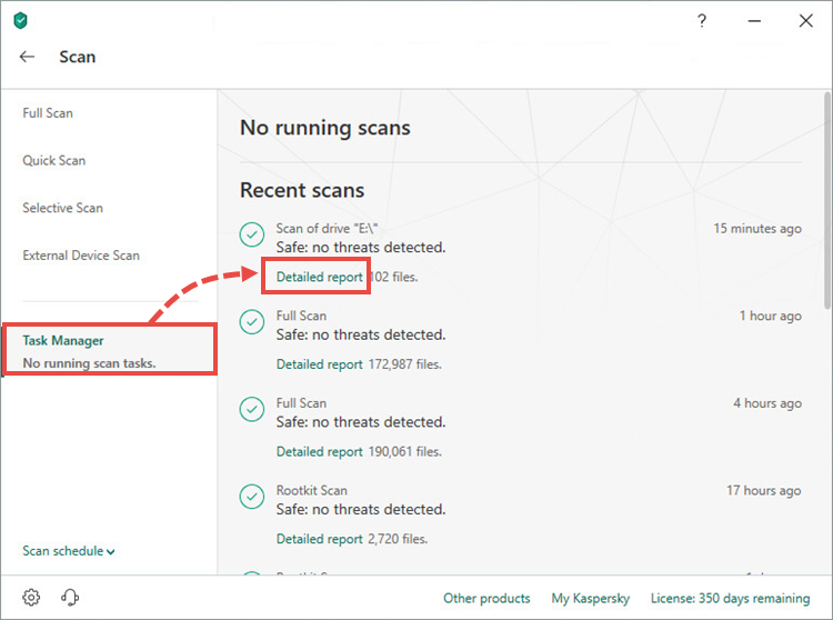 Opening the full scan report window in Kaspersky Total Security 19