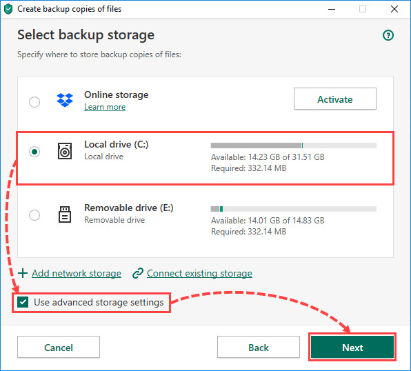 Selecting a local drive for creating file backups in Kaspersky Total Security 20