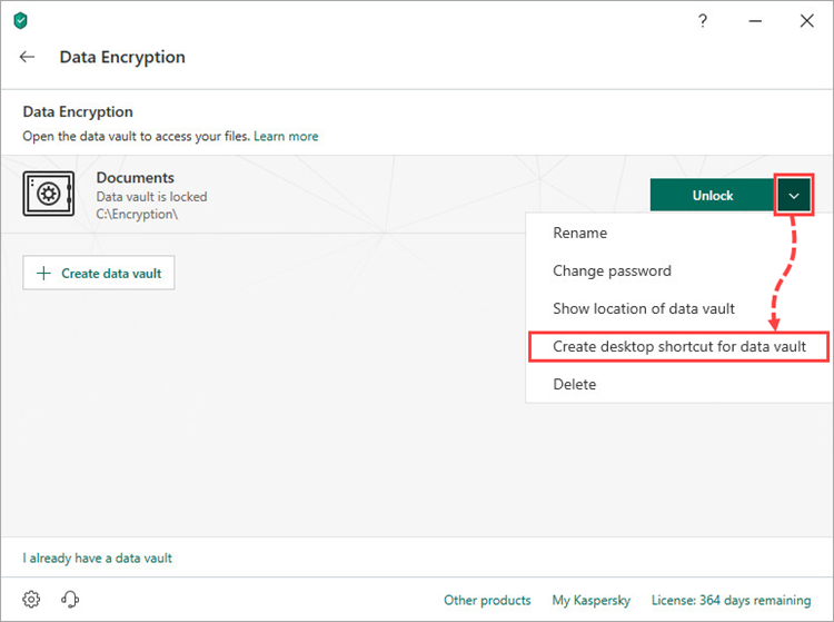 Creating a vault shortcut in Kaspersky Security Cloud 19