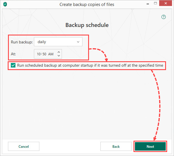 Setting a backup schedule in Kaspersky Total Security 19