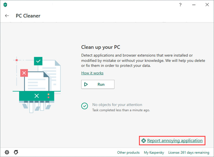 Choosing a problematic application to report via Kaspersky Security Cloud 20