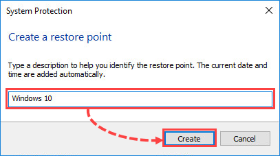 Creating a Windows 10 restore point