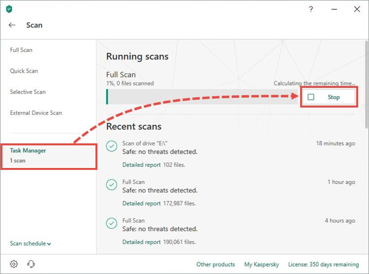 Stopping a scan in Kaspersky Total Security 19
