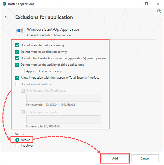 Selecting exclusion settings for an application in Kaspersky Total Security 19