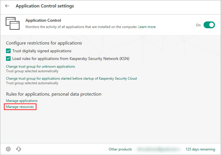 Opening the resources settings window of Kaspersky Security Cloud 19
