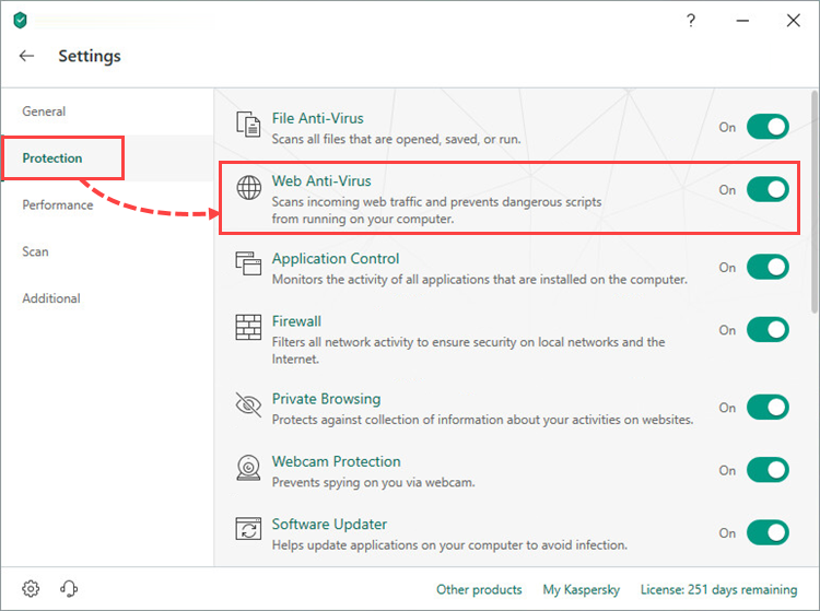Opening Web Anti-Virus settings in Kaspersky Total Security 19