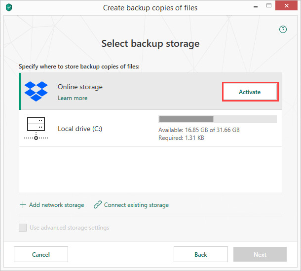 Activating the Dropbox online storage in Kaspersky Total Security 19