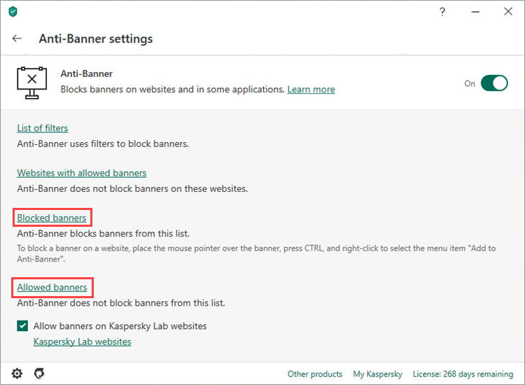 Opening the settings of allowed and blocked banners in Kaspersky Internet Security 20
