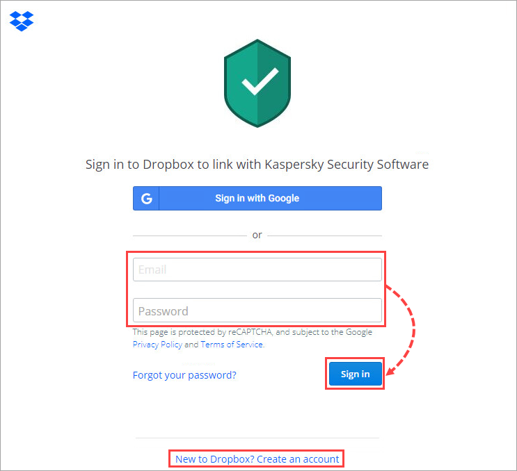 Signing in to Dropbox from Kaspersky Total Security 20