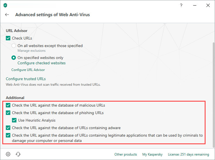 Implementing additional URL settings in Kaspersky Total Security 19