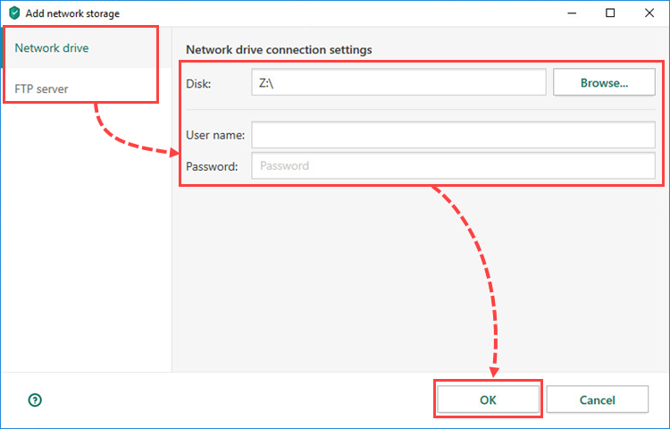 Configuring network storage settings in Kaspersky Total Security 20