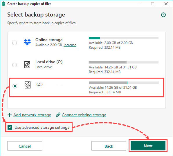 Selecting a network storage for creating file backups in Kaspersky Total Security 20