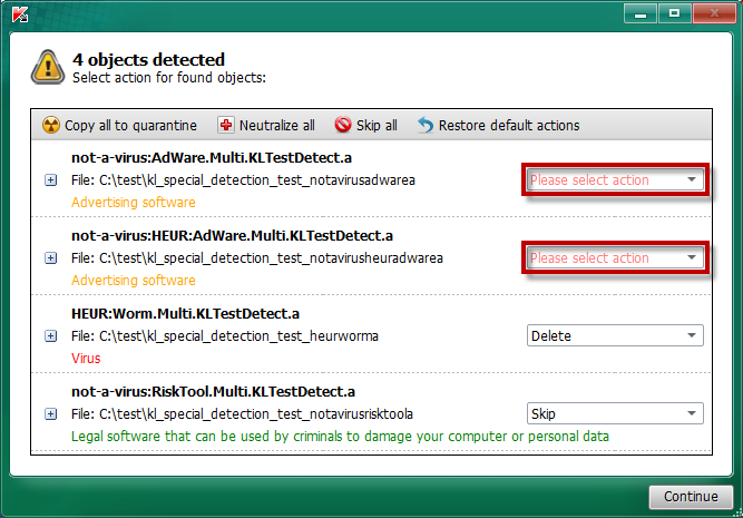 Kaspersky Virus Removal Tool screenshot