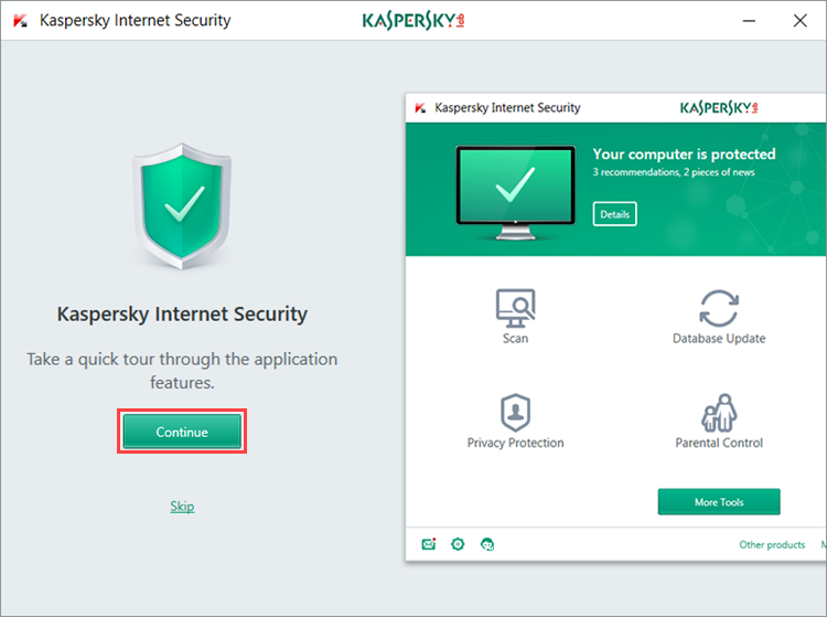 Image: the quick tour window of Kaspersky Internet Security 2018