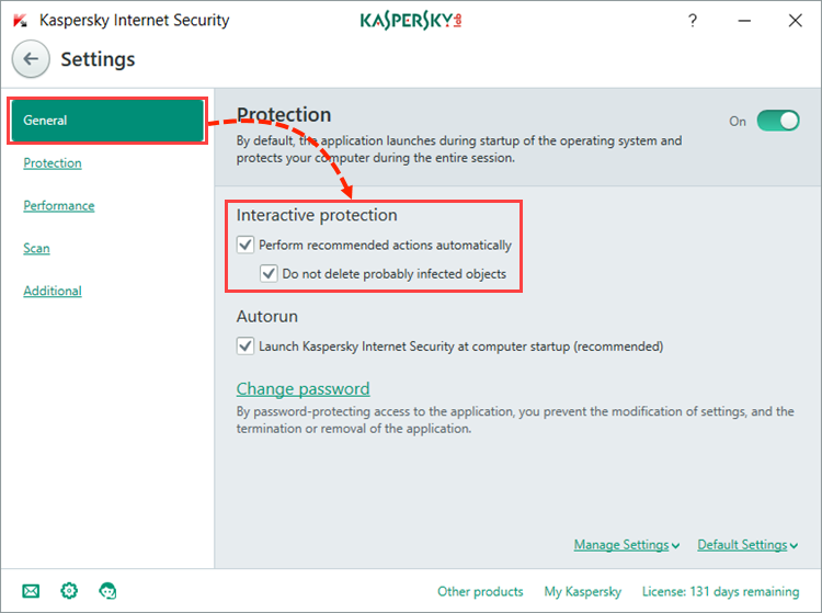Image: Selecting the protection mode in Kaspersky Internet Security 2018