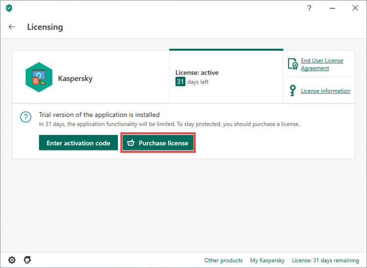Opening the license purchasing page for Kaspersky Anti-Virus 20