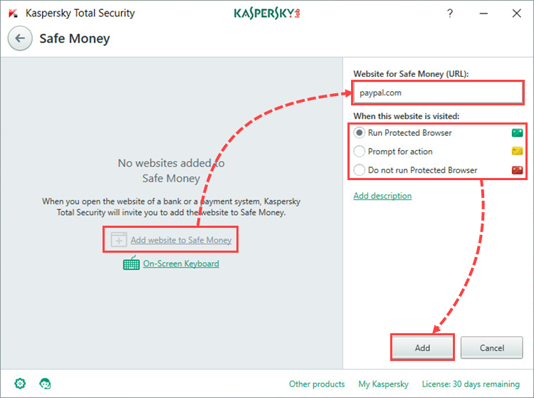 Image: the Secure Connection window in Kaspersky Total Security 2018