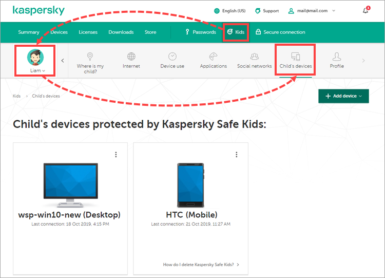 Viewing the child's devices on My Kaspersky