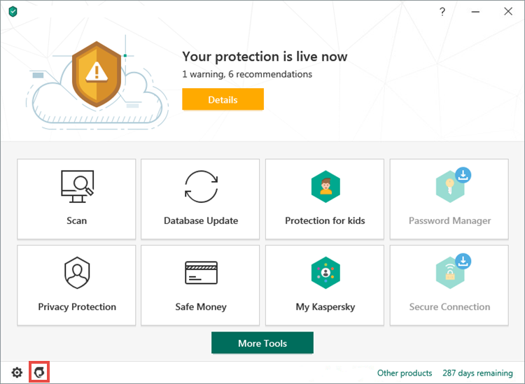 Opening the Support window of Kaspersky Security Cloud 20