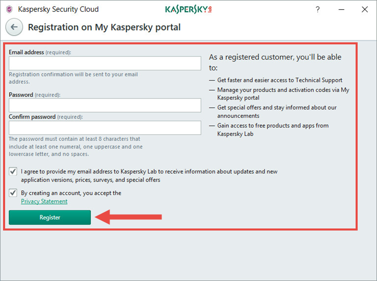 Image: the Kaspersky Security Cloud window