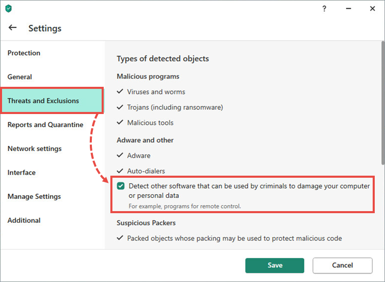 Threats and exclusions settings in a Kaspersky application