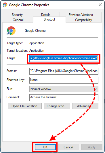 Checking properties of the Google Chrome shortcut