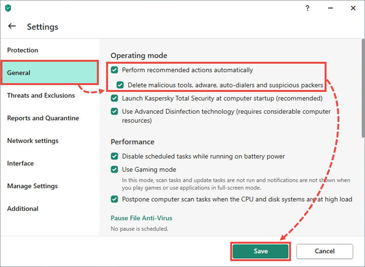 The general settings of a Kaspersky application