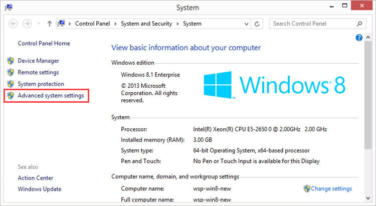 Opening advanced system settings in Windows 8
