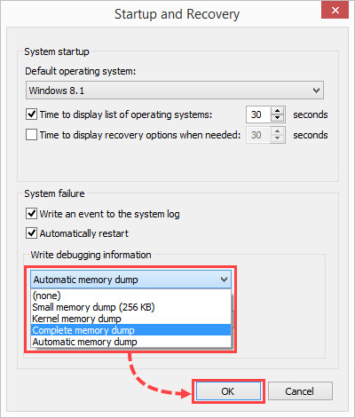Configuring the writing of a full memory dump in Windows 8