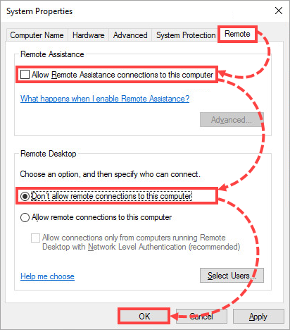 Denying remote connection to the computer in Windows 10
