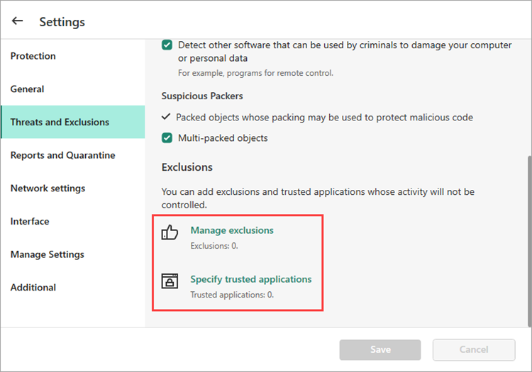 Image: the exclusions settings in a Kaspersky Lab solution for home