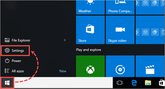 Image: search for Settings from the taskbar