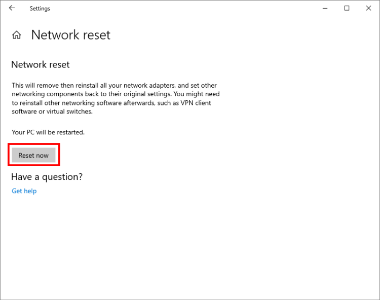 Resetting networks in Windows 10