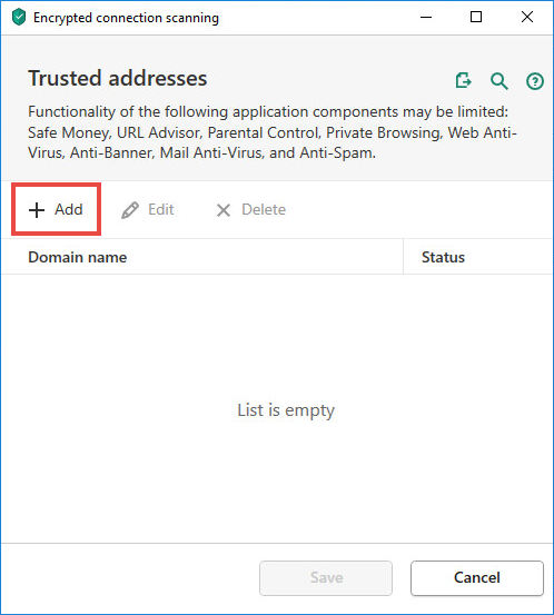 How to exclude a website from encrypted connections scanning