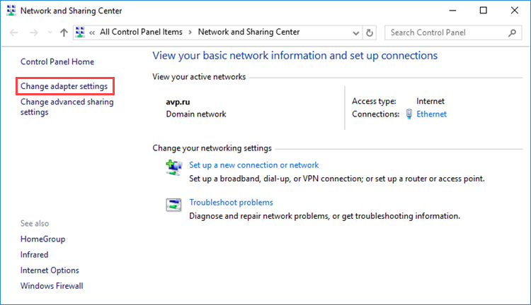 Changing adapter settings in Windows 10
