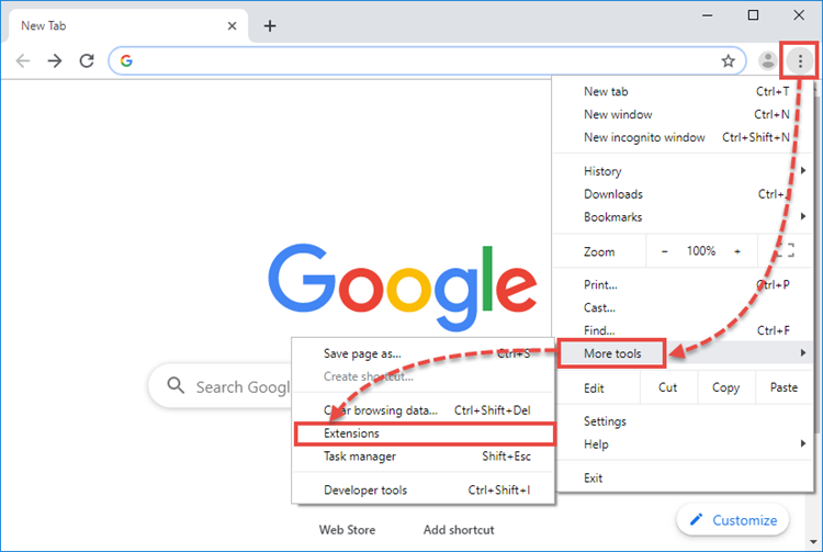Opening the list of extensions in Google Chrome