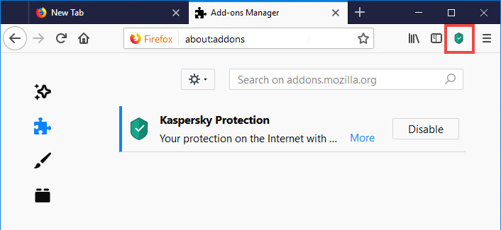The Kaspersky Protection icon in Mozilla Firefox
