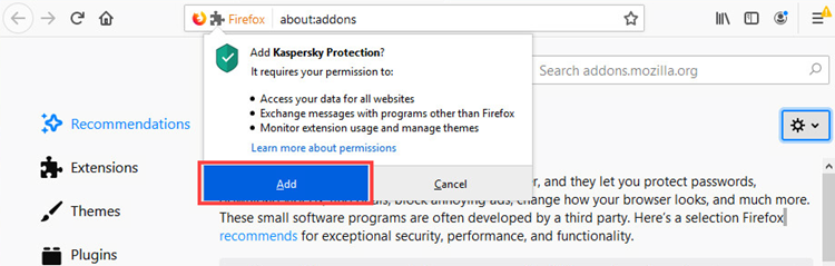 Adding the Kaspersky Protection extension to Mozilla Firefox