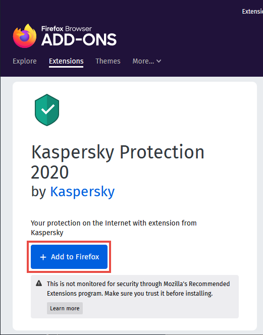 Kaspersky Protection page in Firefox browser add-ons store.