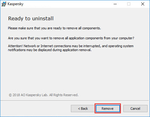 Confirming the removal of a Kaspersky application