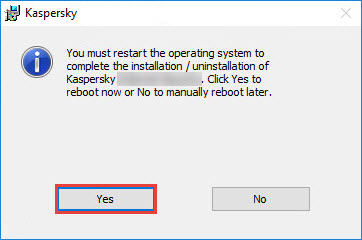 Completing the removal of a Kaspersky application