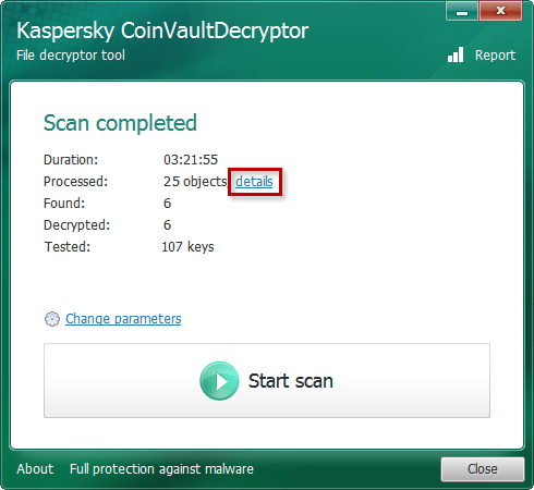 Viewing detailed scan information in Kaspersky CoinVaultDecryptor