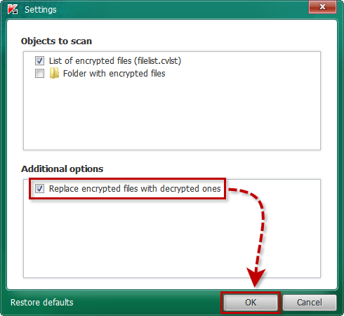 Specifying objects to scan in Kaspersky CoinVaultDecryptor