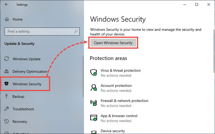 Opening Windows Defender