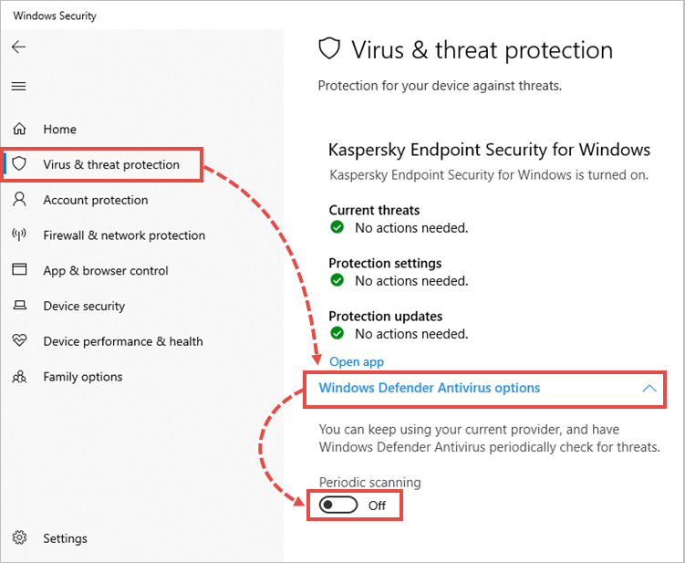 Disabling periodic scanning in Windows Defender